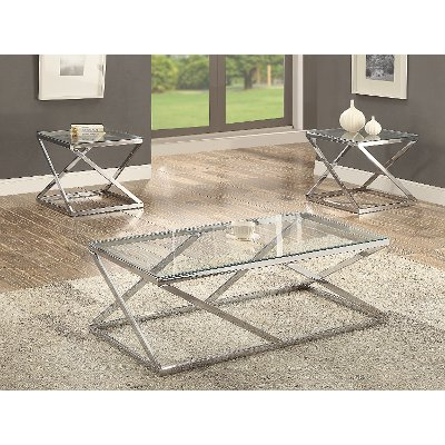 chrome and glass 3 piece coffee table set | rc willey furniture store