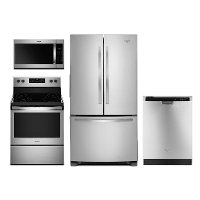 KIT Whirlpool 4 Piece Stainless Steel Kitchen Appliance Package with Electric Range