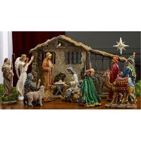 14 Inch Hand Painted 16 Piece Nativity Set with Winged Angel