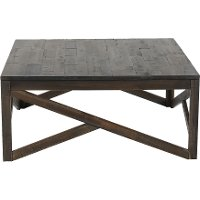 Rustic Charcoal Brown Square Coffee Table - Haroflyn