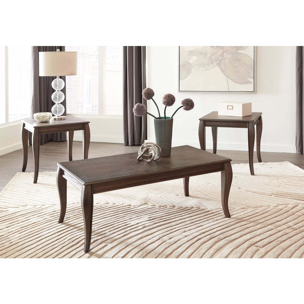 Charcoal Brown 3 Piece Coffee Table Set Vintelli