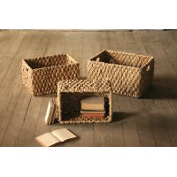 10 Inch Sea Grass Rectangle Chunky Braided Storage Basket with Cut Out Handles