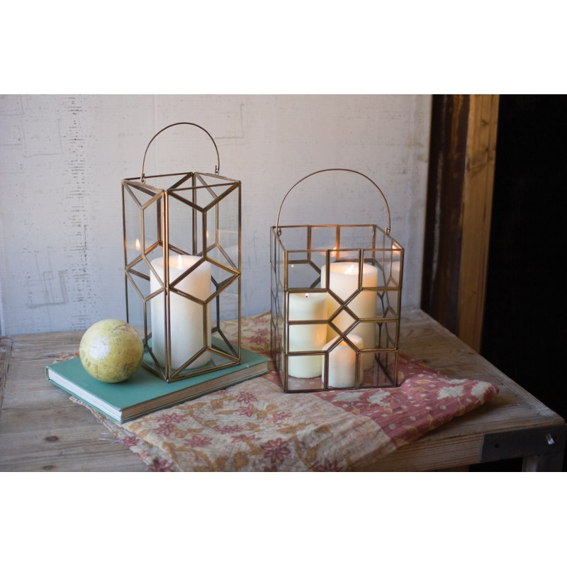Add an element of modern or vintage charm to your decor with this leaded glass candle holder from RC Willey. Framed in a stunning Antique Brass, this accessory is sure to complement your home.