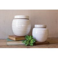 6 Inch White Round Ceramic Canister