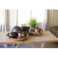 Rectangle Willow and Wooden Tray with Handles