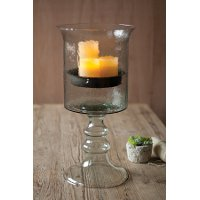 24 Inch Glass Candle Cylinder with Metal Insert and Glass Base