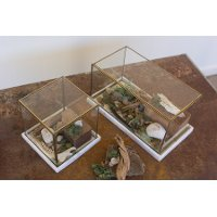 Square Antique Brass Glass Display Box On A Marble Base
