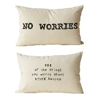 No Worries Cotton Printed Throw Pillow - Reversible