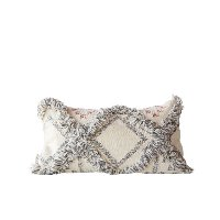 Wool Fringed Kilim Rectangular Throw Pillow