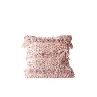 Pale Pink Cotton Fringe Throw Pillow