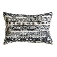 Natural and Blue Print Cotton Throw Pillow