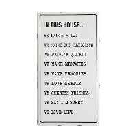 White and Black In This House Enamel Wall Plaque