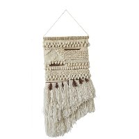 Beige Wool and Cotton Hand-Woven Wall Hanging