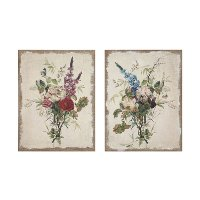 Assorted Vintage Reproduction of Flower Bouquet Distressed Wall Art