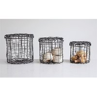 7 Inch Round Hand-Made Wire Basket with Lid
