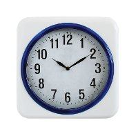 White and Blue Metal Wall Clock
