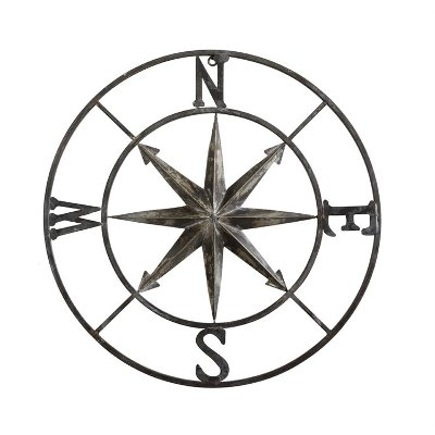 30 Inch Round Metal Compass Wall Decor