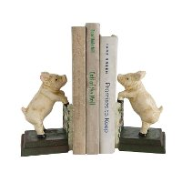 Pig Hand-Painted Cast Iron Bookend Pair