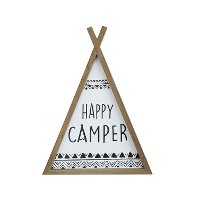 Wood Framed Happy Camper Teepee Wall Decor