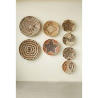 Assorted 18 Inch Round Hand-Woven Sea Grass Wall Basket