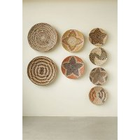 Assorted 14 Inch Round Hand-Woven Sea Grass Wall Basket