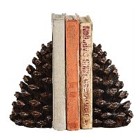 Bronze Fin Pine Cone Bookend Pair