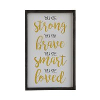 Multi Color You Are Strong Wooden Framed Wall Art