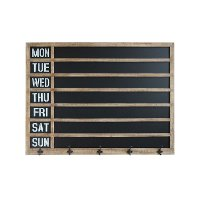 Wood Framed Week Day Chalkboard Wall Decor with 5 Metal Hooks