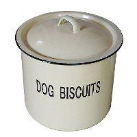 Dark Cream Metal and Enamel Dog Biscuit Lidded Container