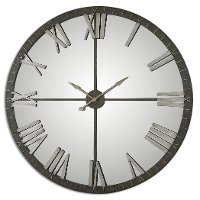 60 Inch Rustic Bronze Metal Clock with Silver Highlights and Mirrored Face