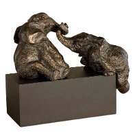 Antique Bronze Playful Pachyderms with Gray Glaze and Black Base