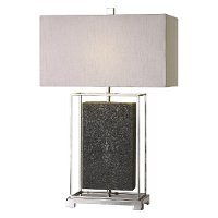 Gray and Polished Nickel Table Lamp