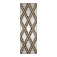 Ivory and Chestnut Gray Geometric Argyle Mirror