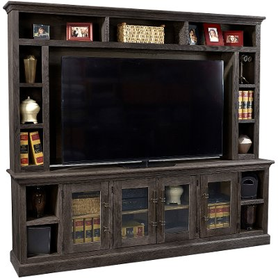 2 Piece Rustic Brown TV Stand and Hutch RC Willey Furniture Store