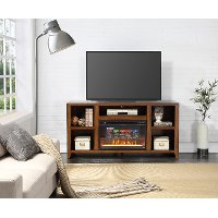 62 Inch Medium Brown TV Stand and Fireplace - Calistoga