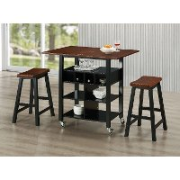 43928 Black and Mahogany Kitchen Island and 2 Stools - Phoenix