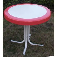 71520 Red Coral Metal Round Table