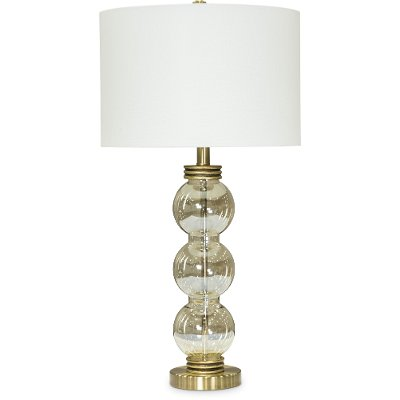 Tall Bubble Glass Table Lamp with White Shade