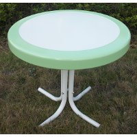 Lime Green Round Table - Retro Metal