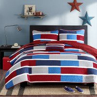 Bradley Blue and Red Twin-Twin XL 3 Piece Bedding Collection