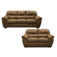 Contemporary Brown 2 Piece Living Room Set - Grant