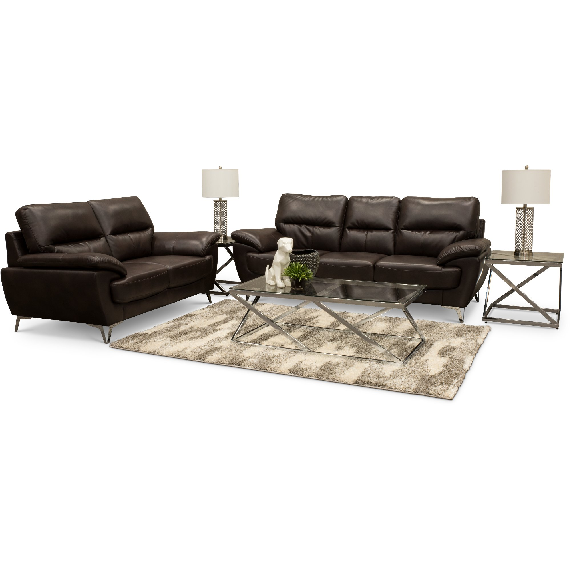 Contemporary Chocolate Brown 7 Piece Living Room Set - Galactica ...