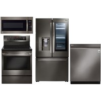 KIT LG 4 Piece Kitchen Appliance Package with Electric Range - Black Stainless Steel