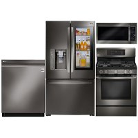 KIT LG 4 Piece Kitchen Appliance Package with 5.4 cu. ft. Gas Range - Black Stainless Steel