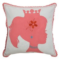 Pink and White Silhouette Printed Throw Pillow