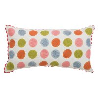 White and Multi Color Printed Polka Dot Throw Pillow