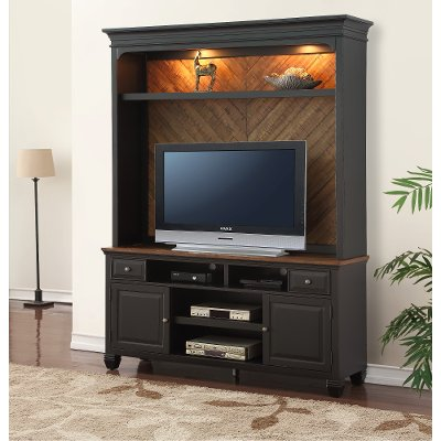 Antique Black TV Stand and Hutch - Brighton Hickory - Antique Black TV Stand And Hutch - Brighton Hickory RC Willey