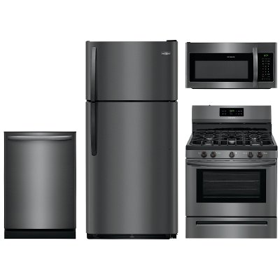 kit frigidaire 4 piece black stainless steel kitchen appliance package with gas range frigidaire 4 piece black stainless steel kitchen appliance package      rh   rcwilley com