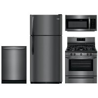 KIT Frigidaire 4 Piece Kitchen Appliance Package with Gas Range with fifth burner - Black Stainless Steel