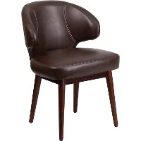 Small Brown Leather Accent Chair